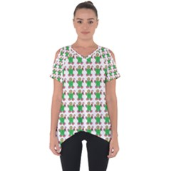 Gingerbread Men Seamless Green Background Cut Out Side Drop Tee