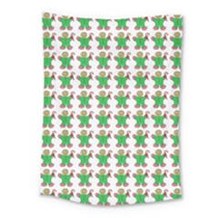 Gingerbread Men Seamless Green Background Medium Tapestry