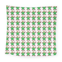 Gingerbread Men Seamless Green Background Square Tapestry (large)
