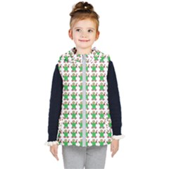 Gingerbread Men Seamless Green Background Kid s Hooded Puffer Vest