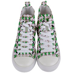 Gingerbread Men Seamless Green Background Women s Mid Top Canvas Sneakers