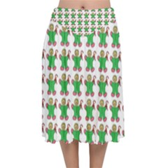 Gingerbread Men Seamless Green Background Velvet Flared Midi Skirt by Alisyart