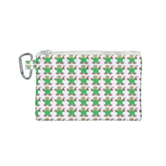 Gingerbread Men Seamless Green Background Canvas Cosmetic Bag (small)