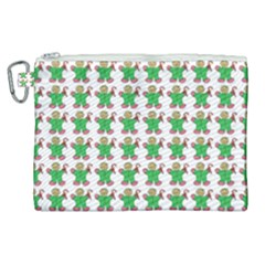 Gingerbread Men Seamless Green Background Canvas Cosmetic Bag (xl)