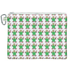 Gingerbread Men Seamless Green Background Canvas Cosmetic Bag (xxl) by Alisyart