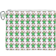 Gingerbread Men Seamless Green Background Canvas Cosmetic Bag (xxxl)