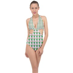 Gingerbread Men Seamless Green Background Halter Front Plunge Swimsuit