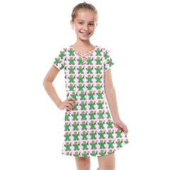 Gingerbread Men Seamless Green Background Kids  Cross Web Dress