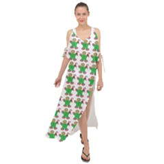Gingerbread Men Seamless Green Background Maxi Chiffon Cover Up Dress