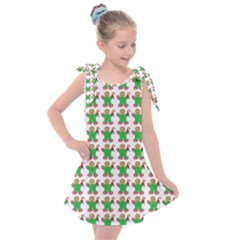 Gingerbread Men Seamless Green Background Kids  Tie Up Tunic Dress