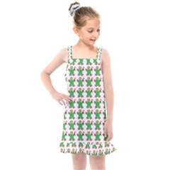 Gingerbread Men Seamless Green Background Kids  Overall Dress