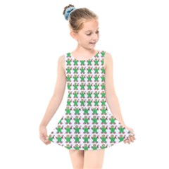 Gingerbread Men Seamless Green Background Kids  Skater Dress Swimsuit