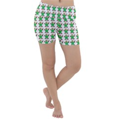 Gingerbread Men Seamless Green Background Lightweight Velour Yoga Shorts