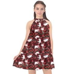 Cartoon Mouse Christmas Pattern Halter Neckline Chiffon Dress