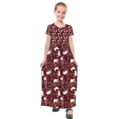 Cartoon Mouse Christmas Pattern Kids  Short Sleeve Maxi Dress by Alisyart