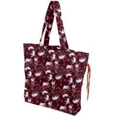 Cartoon Mouse Christmas Pattern Drawstring Tote Bag