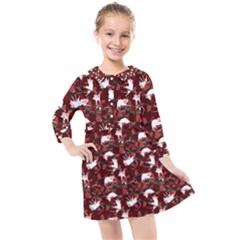 Cartoon Mouse Christmas Pattern Kids  Quarter Sleeve Shirt Dress