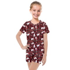 Cartoon Mouse Christmas Pattern Kids  Mesh Tee And Shorts Set
