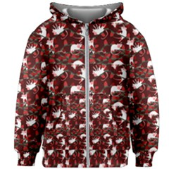 Cartoon Mouse Christmas Pattern Kids Zipper Hoodie Without Drawstring