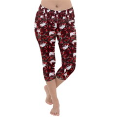 Cartoon Mouse Christmas Pattern Lightweight Velour Capri Yoga Leggings