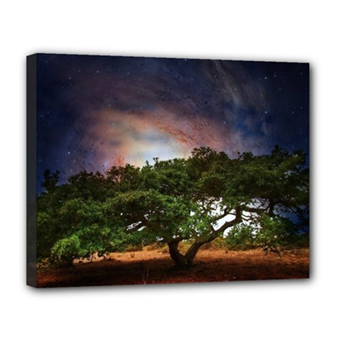 Lone Tree Fantasy Space Sky Moon Canvas 14  X 11  (stretched) by Alisyart