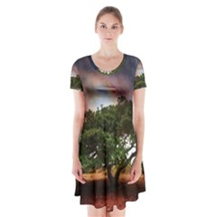 Lone Tree Fantasy Space Sky Moon Short Sleeve V Neck Flare Dress