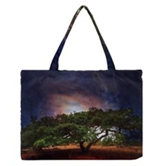 Lone Tree Fantasy Space Sky Moon Zipper Medium Tote Bag