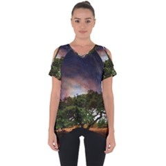 Lone Tree Fantasy Space Sky Moon Cut Out Side Drop Tee