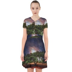Lone Tree Fantasy Space Sky Moon Adorable In Chiffon Dress