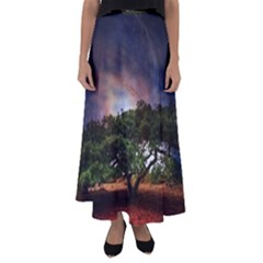 Lone Tree Fantasy Space Sky Moon Flared Maxi Skirt