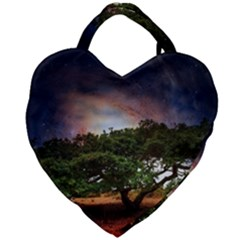 Lone Tree Fantasy Space Sky Moon Giant Heart Shaped Tote by Alisyart