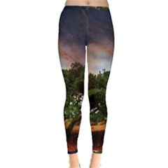 Lone Tree Fantasy Space Sky Moon Inside Out Leggings