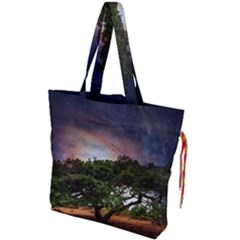 Lone Tree Fantasy Space Sky Moon Drawstring Tote Bag by Alisyart
