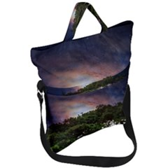 Lone Tree Fantasy Space Sky Moon Fold Over Handle Tote Bag by Alisyart