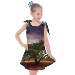 Lone Tree Fantasy Space Sky Moon Kids  Tie Up Tunic Dress