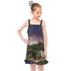 Lone Tree Fantasy Space Sky Moon Kids  Overall Dress