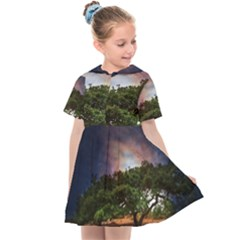 Lone Tree Fantasy Space Sky Moon Kids  Sailor Dress