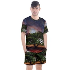 Lone Tree Fantasy Space Sky Moon Men s Mesh Tee And Shorts Set