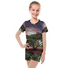 Lone Tree Fantasy Space Sky Moon Kids  Mesh Tee And Shorts Set