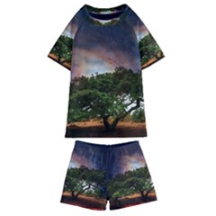 Lone Tree Fantasy Space Sky Moon Kids  Swim Tee And Shorts Set