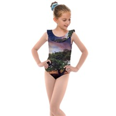 Lone Tree Fantasy Space Sky Moon Kids  Frill Swimsuit