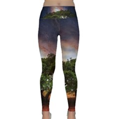 Lone Tree Fantasy Space Sky Moon Lightweight Velour Classic Yoga Leggings