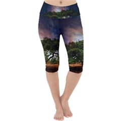 Lone Tree Fantasy Space Sky Moon Lightweight Velour Cropped Yoga Leggings