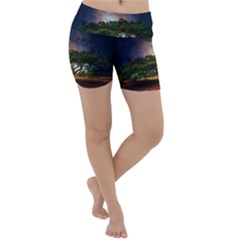 Lone Tree Fantasy Space Sky Moon Lightweight Velour Yoga Shorts
