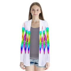 Rainbow Butterfly Drape Collar Cardigan