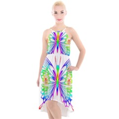 Rainbow Butterfly High Low Halter Chiffon Dress