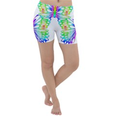 Rainbow Butterfly Lightweight Velour Yoga Shorts