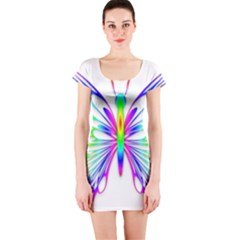 Rainbow Butterfly Short Sleeve Bodycon Dress