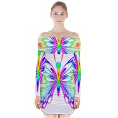 Rainbow Butterfly Long Sleeve Off Shoulder Dress