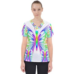 Rainbow Butterfly Women s V Neck Scrub Top